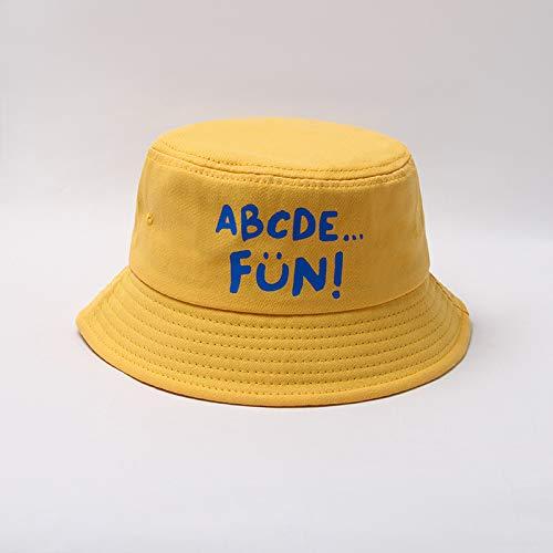 wopiaol Sombrero para niños Tendencia de Estilo otoñal Impresión de Letras Coreanas Sombrero de Lavabo Simple para niños Sombrero de Pescador de bebé de ala Grande a Prueba de Viento