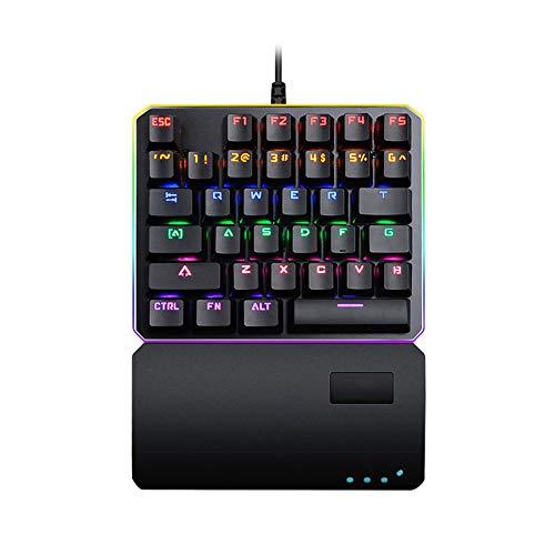 Xianxian88 Protable Mini de una Mano mecánica Teclado para Juegos, con 35 Llaves del RGB de Colores de luz de Fondo del Teclado del Juego, para LOL/PUBG/Wow/Dota PC Juegos