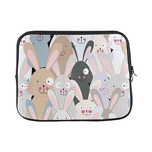 INTERESTPRINT Laptop Neoprene Sleeve Pouch Case Bag Funny Cute Rabbit Bunny Water Resistant Carrying Case Cover 11 Inch 11.6 Inch