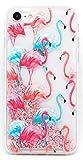 Coovertify Funda Rosa Agua Flamencos Rosas y Azules Carcasa con Purpurina Brillante escarchada TPU Silicona con liquido Interior para Huawei P8 Lite 2017