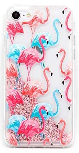 Coovertify Funda Rosa Agua Flamencos Rosas y Azules Carcasa con Purpurina Brillante escarchada TPU Silicona con liquido Interior para Samsung J5 2016 (J510)