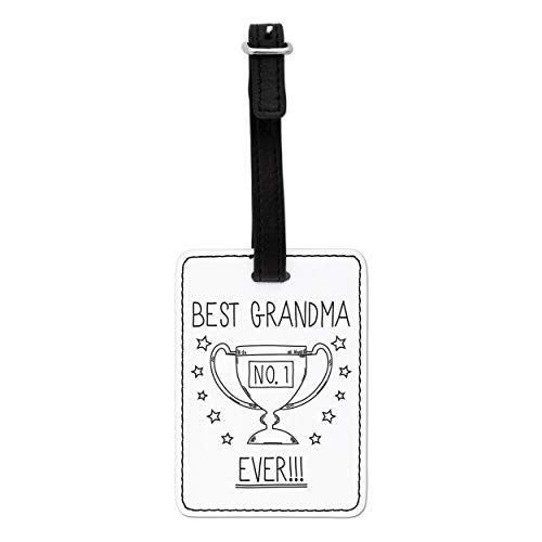 Gift Base Best Grandma Ever No.1 Trophy Visual Luggage Tag with Black Strap