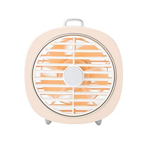 Yosemite Ventilador de escritorio pequeño potente pequeño ventilador de refrigeración USB giratorio cubierta LED noche luz oficina hogar aire refrigerador - rosa