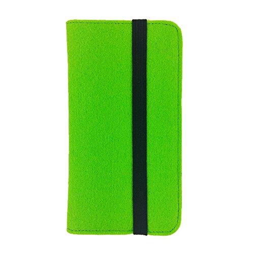 handy-point Universell Organizer für Smartphone Tasche aus Filz Filztasche Filzhülle Hülle Schutzhülle mit Kartenfach für Samsung, iPhone, Huawei (5,6-6,4 Zoll max 18 x 9,3 m, Grün hell)