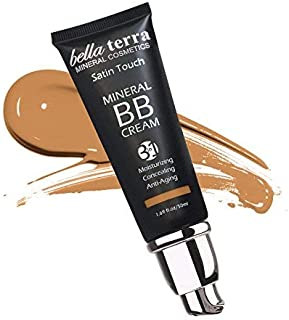 BB Cream Matte finish 3-in-1 Mineral Makeup Foundation, Tinted Moisturizer, Concealer, Satin touch, Light to Dark Skin Tones, Natural SPF, Hypoallergenic (1.69 Oz) Medium Tan-105 by Bella Terra