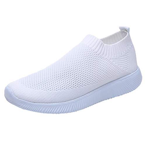 Holibanna Zapatillas Deportivas Tejidas con Suela de Goma para Mujer Zapatillas de Deporte Ligeras para Gimnasio Viajes Trabajo Caminar Cuatro Estaciones (Blanco 9)