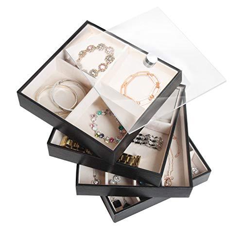 JackCubeDesign Set aus 4 stapelbaren Leder Schmuck Tray mit Spiegelabdeckung Ohrring Halskette Armband Ring Veranstalter Display Aufbewahrungsbox (Schwarz, 18 x 18 x 17 cm) -: MK409A