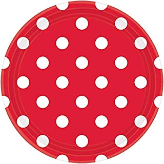 Amscan Dots Round Paper Plates 8 Pieces, 17 cm Diameter, Apple Red