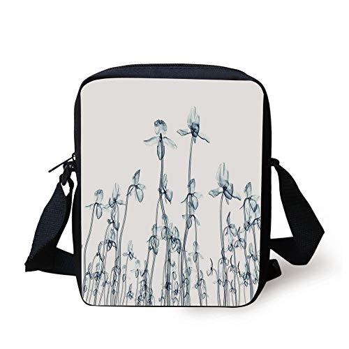 Xray Flower,X ray Photo of a Group of Orchides Bottom to Top Rare Unseen Art in Complex Nature,Teal White Print Kids Crossbody Messenger Bag Purse
