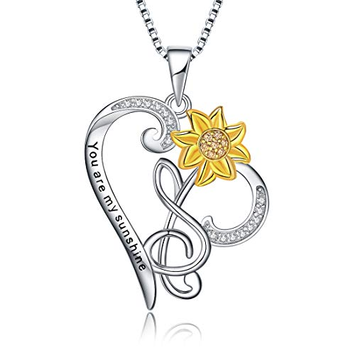 URMWMOO S925 Sterling Silver You are My Sunshine Sunflower Love Heart Pendant Necklace Flower Jewerly Gift for Women Girls