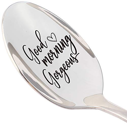 THREE HUMAN Good Morning Gorgeous Funny Inspirational Spoon, Gift for Friend, Sister, Her, Coffee Lover Gifts, Christmas Gifts