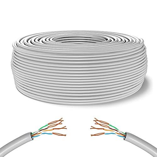 Mr. Tronic 50m Cavo di Rete Ethernet | CAT5E, AWG24, CCA, UTP, RJ45 | Bobina di Rete | Grigio (50 Metri)