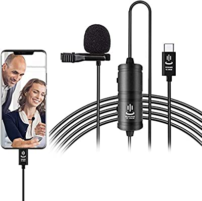 USB Type C Lavalier Lapel Microphone for Android Smartphones,236''/6m Omnidirectional Condenser Mic for Type-C Interface Device,Youtube Facebook Interview Video Recording
