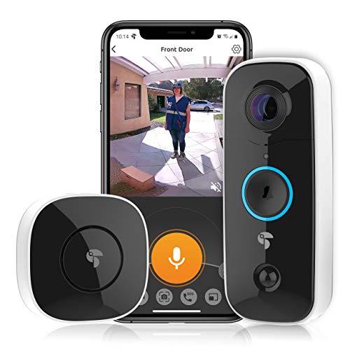 Toucan Türklingel mit Kamera 1080P HD mit Glockenspiel, Winkelansicht 180°, PIR Personenerkennung, Zwei-Wege-Audio, IP56 wasserdichte, Ireless Video Türklingel Nachtsicht, WiFi 2.4 Ghz