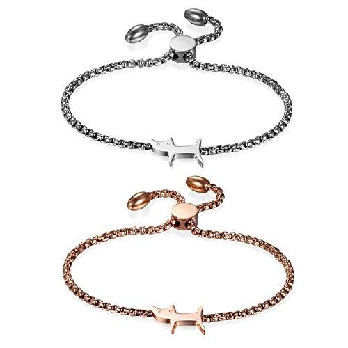JewelryWe Schmuck Damen Armband mit politert Katze, Edelstahl Charm-Armband Armkette Verstellbar Armkettchen Armreif, Silber