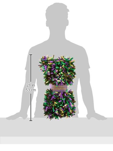 "Beistle Metallic Festooning Garland Party Accessory, Mardi Gras Decorations, 4"" x 15', Gold/Green/Purple"
