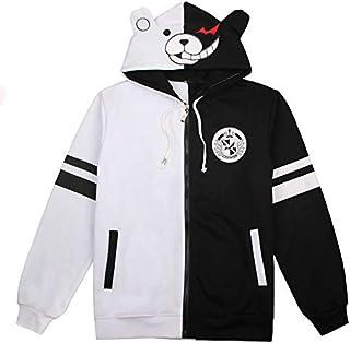 V-BestLee Monokuma Black White Bear Hoodies Chaqueta Cremallera Abrigo Unisex Outcoat Sudadera Casual Cosplay Disfraz