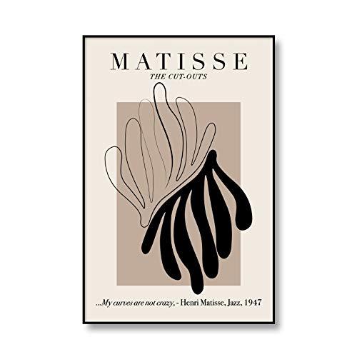 Póster artístico de exposición de Henry Matisse, pintura abstracta con estampado de hojas multicolores, cuadro moderno, pintura en lienzo sin marco A2 30x45cm