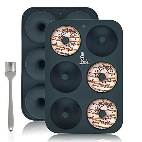 SUPER KITCHEN ドーナツ型 シリコン型 ケーキ型 製菓道具 プレートノンスティック 6個取り 耐熱 焼きドーナツ型 キッチン ツール モールド 掃除が簡単 2個(グレー )