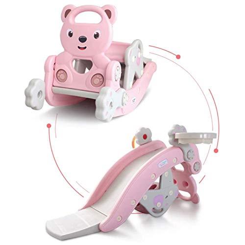 Muyuuu Juego de Escalador y Columpio para niños, Juego de tobogán de Escalador 4 en 1 con aro de Baloncesto, Columpio, férula y tobogán de plástico para niños de 3 años en adelante (Color : Pink)
