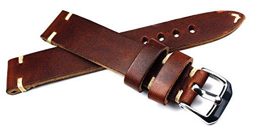 RIOS 1931 Vintage 19mm Deutsch Retro Look Herren Leder Uhrenarmband braun