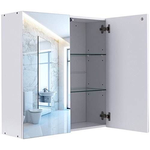 """24"""" Wide 2 Mirror Wall Mounted Bathroom Cabinet Medicine Toiletries Storage Compartments Organizer Large Storage Space Above Sink Kitchen Bathroom Bedroom Living Room Use Multifunctional"""