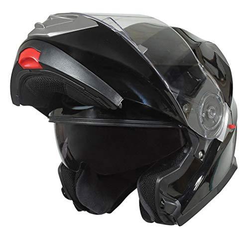 Bilt Evolution Flip Up Drop Down Sun Shield Vented DOT Sport Adventure Touring Bike Street Motorcycle Modular Helmet - Black LG