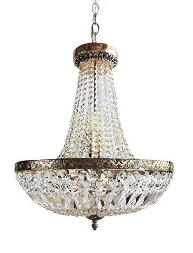 Cristal Lámpara de Araña, Cristal Lámpara Colgante, Schönbrunn Antiguo Oro 8 Lámparas Ø45cm Fabricado de Pulidos Cristales Pga Lights
