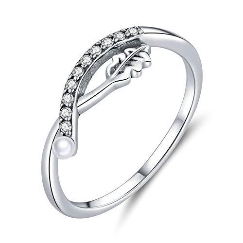 Damen Ring Mode Einfaches Blatt S925 Sterling Silber Ring Persönlichkeit Geometrische Einlagerung Pearl Ring Hand Schmuck Geschenk,8