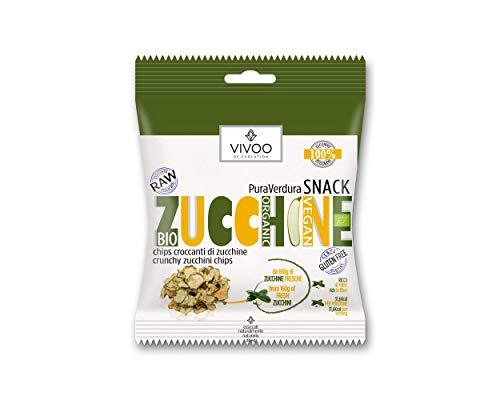VIVOO RE-EVOLUTION | ZUCCHINE | Chips croccanti di Zucchine | Raw Biologico | No: Glutine, Latticini, Soia, OGM | Vegano, Kosher | Ricco di Nutrienti | 1 confezione da 8 g