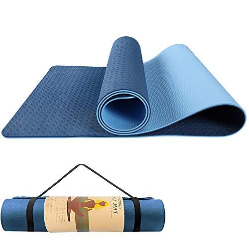 HDZIYU ヨガマット 滑り止め トレーニングマット 運動用マット ストレッチマット ホットヨガマット エクササイズマット ピラティスマット Yoga Mat 両面 ゴムバンド 2色のパッド ストラップ 軽量 TPEリング保護素材 厚み6mm (青い)
