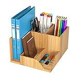 Homfa Bambus Schreibtisch Organizer 21,5x18,5x11,5cm Stiftehalter Stifteköcher Aufbewahrungsbox Schreibtisch Zubehör Organisation Ordnungsbox