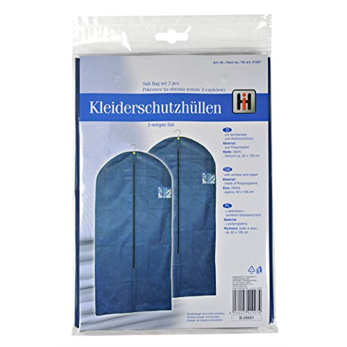 Vêtements Sacs – Lot de 2–135 X 62 cm – Bleu – Pour le stockage et transport – Neuf