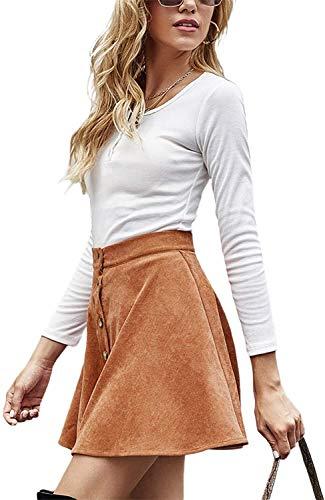 Botón de Las Mujeres de Cintura Alta Frente de la Cremallera Casual una línea Corta Mini Falda de Midi Gamuza sintética con Pocket (Color : Button Camel, Size : Large)