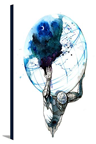 Abstract Ink Art of Atlas Holding the Earth 9023345 (16x24 Gallery Wrapped Stretched Canvas)