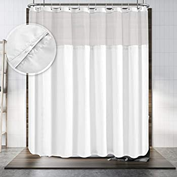 Hotel Style Shower Curtain with Snap-in Fabric Liner 180  x 70  for Clawfoot Tub Wrap Around & Mesh Window Top - Honeycomb Waffle Weave Cotton Blend Fabric Washable White 180x70 Inches