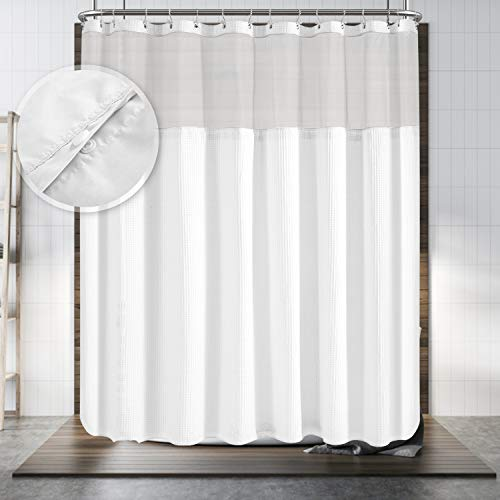 """Hotel Style Shower Curtain with Snap-in Fabric Liner, 180"""" x 70"""" for Clawfoot Tub, Wrap Around & Mesh Window Top - Honeycomb Waffle Weave Cotton Blend Fabric, Washable, White, 180x70 Inches"""