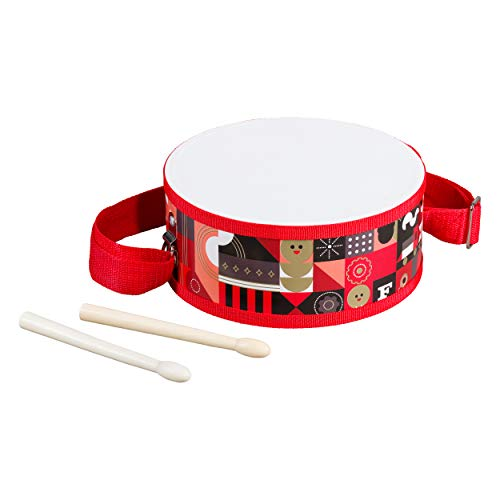 FAO Schwarz AFAO512 Durable Cloth and Wood Toy Drum Set with Carry Strap and Drum Sticks (3 Piece), Multicolor