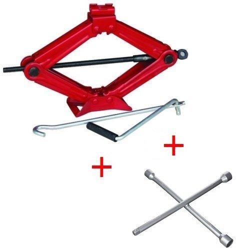 Compatible con GMC Kit de emergencia para coche de gato hidráulico con base de acero y llave giratoria + llave en cruz para atornillar pernos de gato para elevar neumáticos universal
