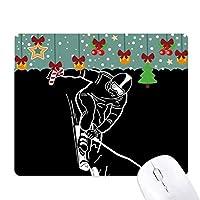ブラックスキー冬のスポーツのパターン ゲーム用スライドゴムのマウスパッドクリスマス