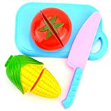 AGLKH Lernspielzeug Sichere Kinder Spielhaus Spielzeug Kunststoff Lebensmittel Spielzeug Geschnitten Obst Gemüse Küche Kinder Spielen 12 Teile/Satz, 4 STÜCKE Gemüse