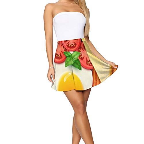 Breakfast In View Frying_9222 Women Girl'S Pleated Skirts Short Mini Skirt Wave Skirt, Beach Skirt