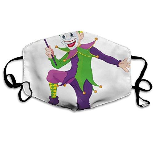 Comfortabele Ma-sk Mundabdekking, narr in cartoon-stijl in iconisch kostuum met Ma-sk Happy Dancing Party figuur, bedrukte gezichtdecoraties