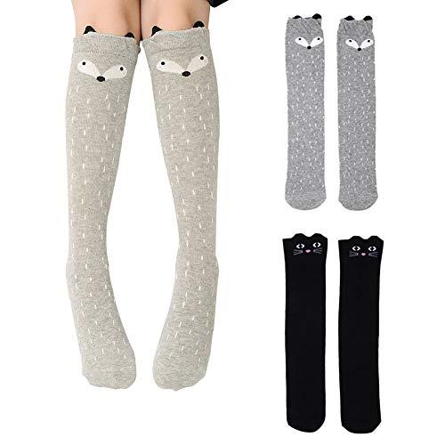 Bostar 2 Pares Niñas Calcetines Largos hasta la rodilla Medias de algodón Animal de dibujos animados sobre la pantorrilla Calcetines largos 3-12 años