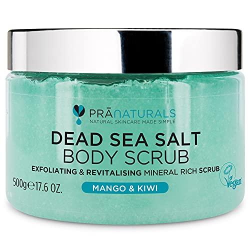 Pranaturals Scrub Corpo Rivitalizzante ai Sali del Mar Morto 500g, Esfoliante, Nutriente e 100% Biologico, Ricco di Minerali Naturali, Ideale per Tutti i Tipi di Pelle, Con Olio di Mango e Kiwi