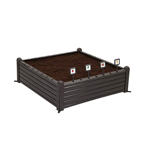 Keter 39 Inch Weather Resistant Outdoor Raised Garden Bed Plant Growing Container Kit with Plant Markers and Wire Dome for Backyard, Patio, and Balcony, Brown