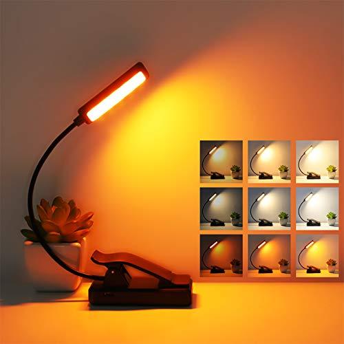 Leselampe Buch Klemme, Deaunbr 9 LED Buchlampe USB Wiederaufladbare Buchlampen 3 Farbtemperatur x 3 Helligkeiten Klemmleuchte Leselicht Notenständer Licht für Nachtlesung, Reise, Nachtlesen, Bett