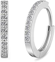 Lolalet 925 Sterling Silver Hoop Earrings Christmas Valentine's Day Gift, Cubic Zirconia Round Circle Endless Earrings...