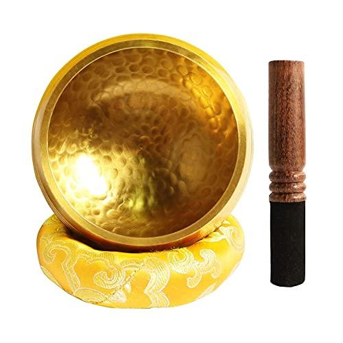ZYuan Juego Cuenco Tibetano, Singing Bowl Cuenco Tibetano con Badajo Madera Cojín del Himalaya Meditación Relajación Estrés Y Terapias Escolares para Aliviar Ansiedad