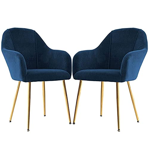 HYRGLIZI Makeup Chair Set of 2 Velvet Dining Chair Occasional Armchair with Armrests and Backrest Leisure Chair for Kitchen Lounge Bedroom Living Room Accent Tub Chair (Color : Blue)